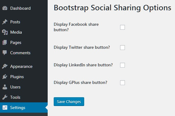 BS Social Sharing Plugin Options Page
