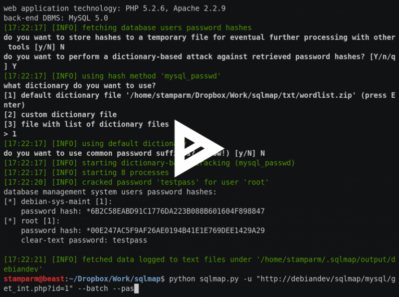 Sqlmap: Automatic Sql Injection example run