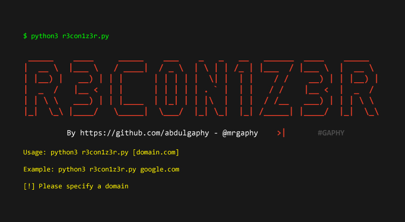R3con1z3r – Lightweight Web Information Gathering Tool