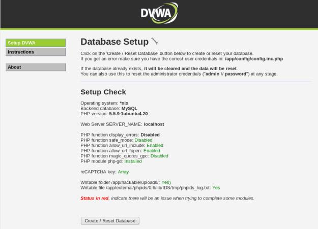 DVWA (Damn Vulnerable Web Application) Database Setup